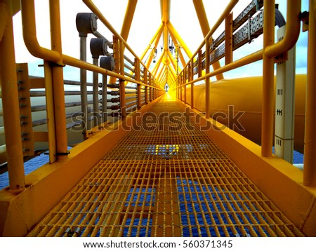Offshore oil and gas central process, Walking bridge link oil to gas platform, Petroleum industry