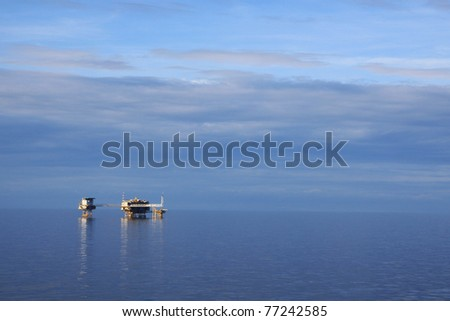 Offshore Oil and Gas Central Production Platform - stock photo