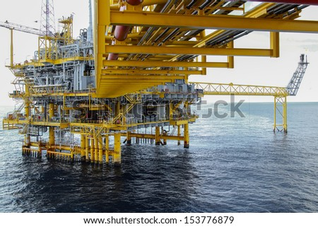 Offshore oil and gas platform - stock photo