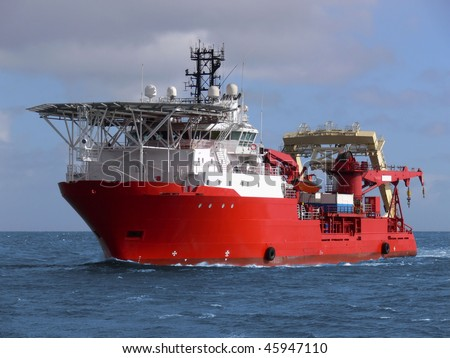 Offshore oil and gas sub-sea construction and support vessel. - stock photo