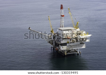 Offshore oil drilling platform aerial view