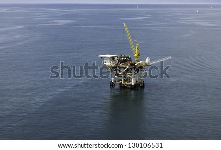 Offshore Oil Drilling Rig Aerial View - stock photo