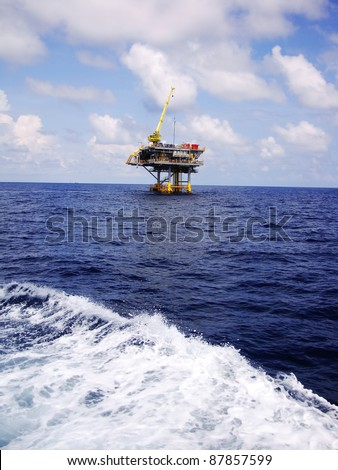Offshore Oil Gas Production Platform in Remote Area (Ocean) - stock photo