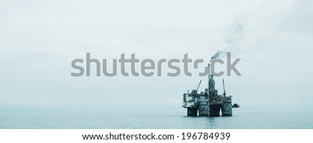 Offshore Oil Platform in the North Sea  - stock photo
