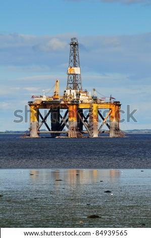 Offshore oil platform, North Scotland - stock photo
