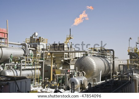 Offshore oil production installation - stock photo