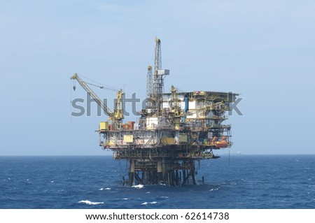 Offshore oil production rig.  Coast of Brazil. - stock photo
