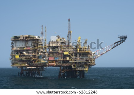 Offshore oil rig.  Coast of Brazil - stock photo