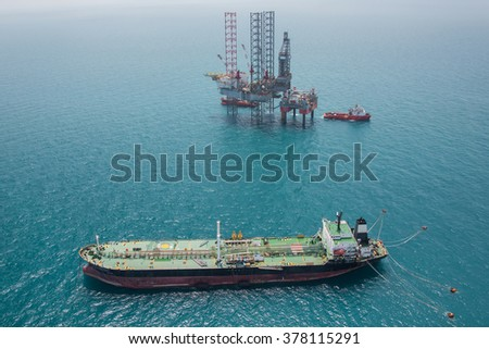 Offshore oil rig drilling platform - stock photo