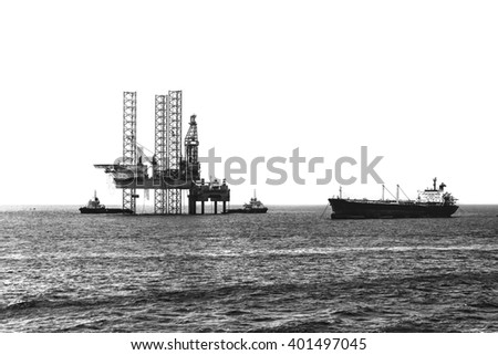 Offshore oil rig drilling platform,black & white