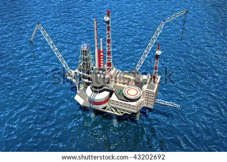 Offshore oilrig in the ocean. 3D image - stock photo