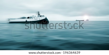 Offshore Operations, Platform together with Seismic Survey Vessels and Offshore Supply ships - stock photo