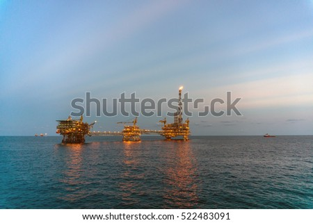 Offshore platforms in the morning at oilfield Terengganu, Malaysia