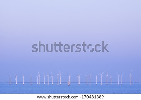 Offshore power station, producing clean energy - stock photo