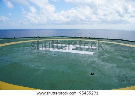 Offshore Rig Helicopter Deck - Oil field - stock photo