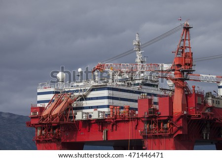 Offshore rig platform. Northern Norway.Tromso