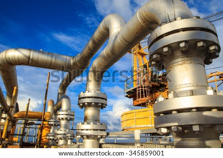 Offshore the Industry oil and gas production petroleum pipeline. - stock photo