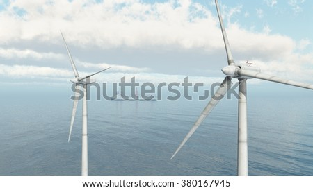 Offshore wind farm and cargo ship Computer generated 3D illustration - stock photo