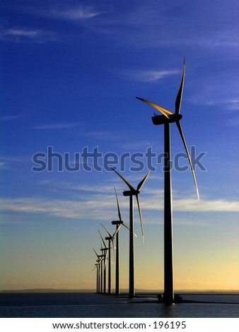 Offshore wind farm - manipulated i colours, - stock photo