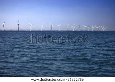 Offshore wind farm near Copenhagen, Denmark - stock photo