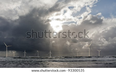 Offshore wind park - stock photo