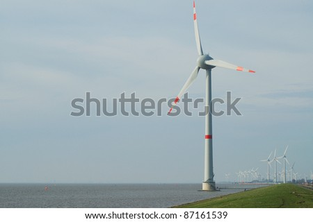 Offshore windmill - stock photo