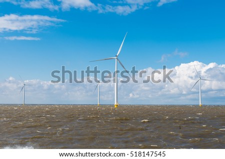 offshore windmill farm in the IJsselmeer at Urk, Netherlands