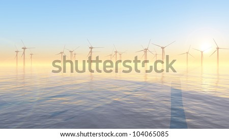 Offshore windpark with windmills on the sea - stock photo