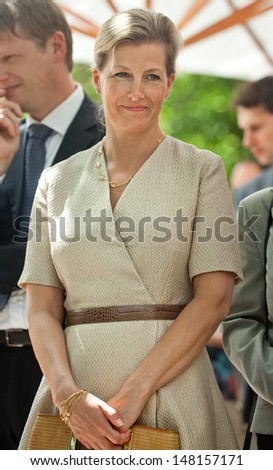 "OFIA, BULGARIA - JUNE 24: The Princess Sophie, Countess of Wessex on a visit at Community Support Center ""St. Sofia"" to meet with children at risk in Sofia, Bulgaria - June 24, 2013.  - stock photo"