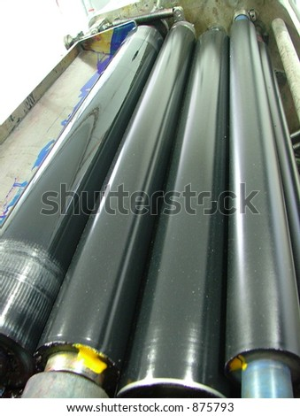 Ofset printing press rolls - stock photo