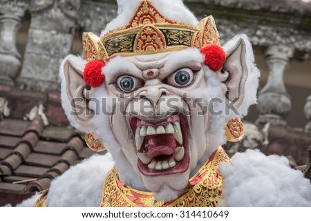 Ogoh-ogoh in Bali, Indonesia. Ogoh-ogoh are statues built for the Ngrupuk parade, which takes place on the eve of Nyepi day in Bali, Indonesia. A Hindu holiday marked by a day of silence. - stock photo
