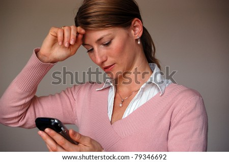 Oh God! I've totally forgotten... Young business woman suddenly remembering something very important - stock photo