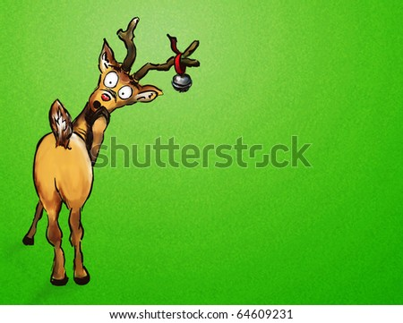 Oh no! Hand drawn Christmas reindeer on green textured background