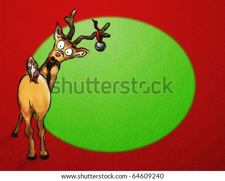 Oh no!  Hand drawn Christmas reindeer on textured green and red background
