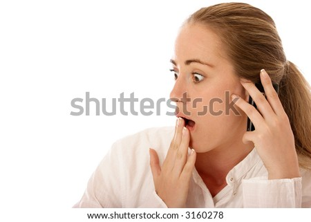 Oh, no! - Stock photo of a young woman using mobile phone