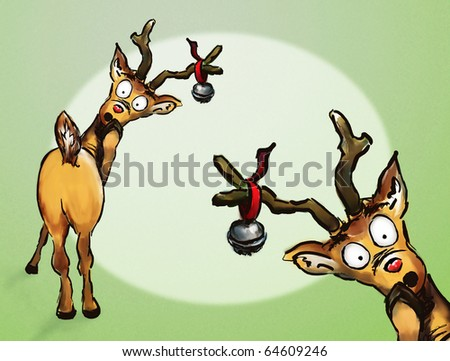 Oh no! Two hand drawn Christmas reindeer spotlight green background - stock photo
