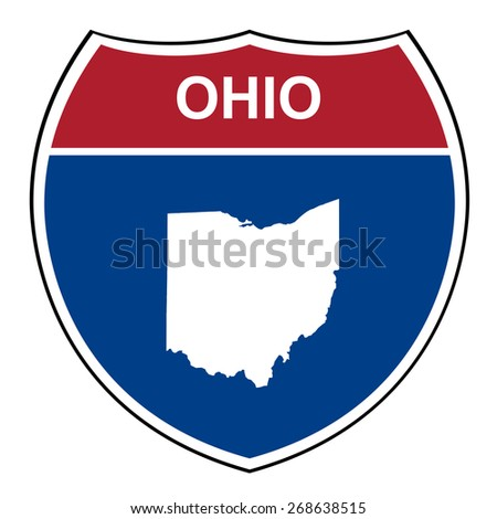 Ohio American interstate highway road shield isolated on a white background. - stock photo