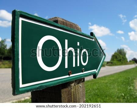 Ohio arrow signpost along a rural road - stock photo