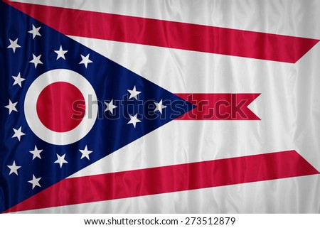 Ohio flag pattern with a peace on fabric texture,retro vintage style