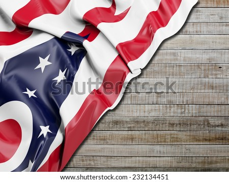 Ohio Flag with horizontal wood - stock photo