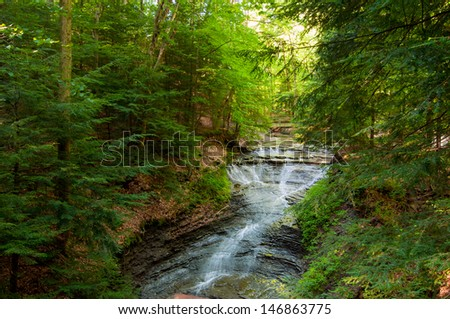 Ohio's Bridalveil Falls in the Bedford Reservation Metropark in early morning light - stock photo