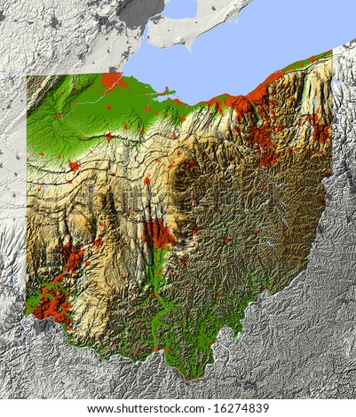 Ohio. Shaded relief map.  Shows major urban areas and rivers, surrounding territory greyed out. Colored according to elevation. Clip path for the state area included. Data source: NASA - stock photo