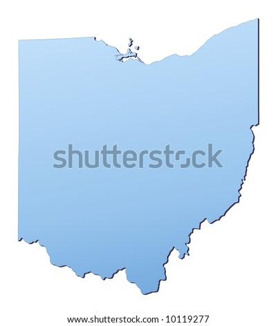 Ohio Usa Outline Map Shadow Detailed Stock Illustration - Usa map ohio