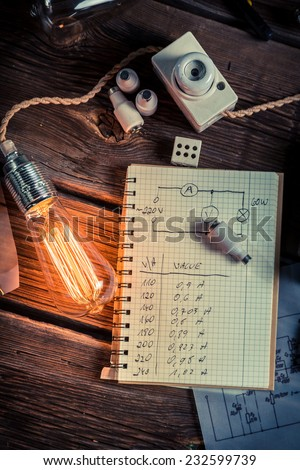 Ohms law results in a physics laboratory - stock photo