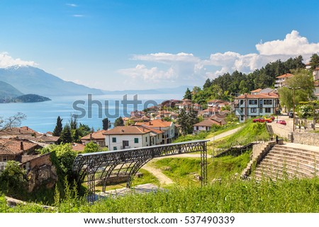 Ohrid city and lake Ohrid in a beautiful summer day, Republic of Macedonia