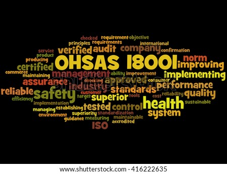 OHSAS 18001 - Health and Safety, word cloud concept on black background.  - stock photo