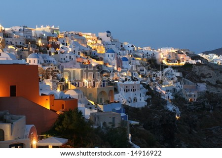 Oia Bathed in Twilight - stock photo