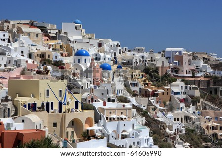 Oia is a community on the islands of Santorini, greece