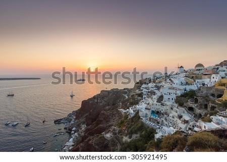Oia sunset Santorini, Greece - stock photo