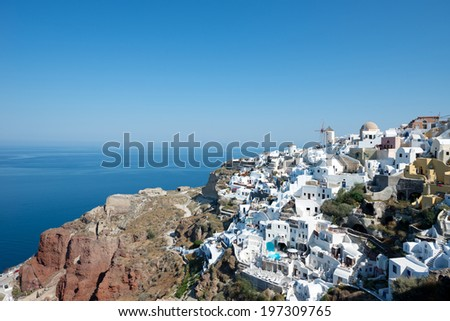 Oia the village of Santorini island in Greece - stock photo